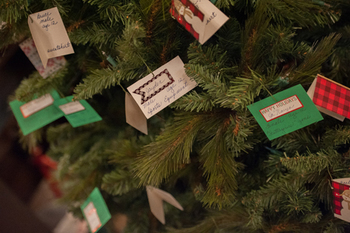 christmas giving tree with tags