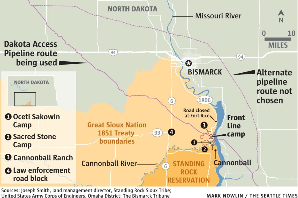 Pipelines map at Standing Rock