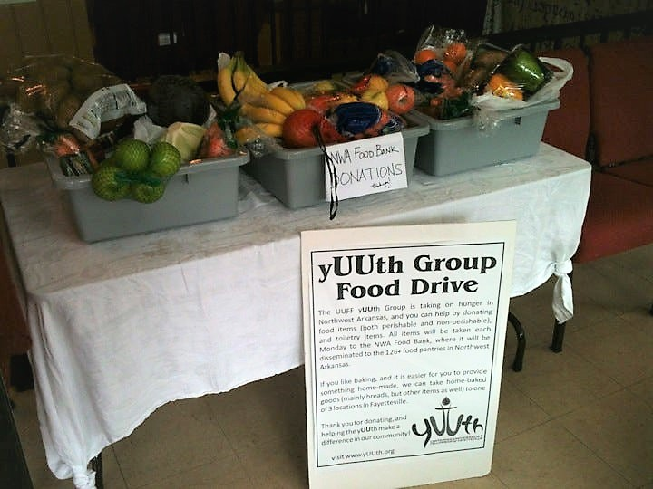 yUUth Group Food Drive collection table