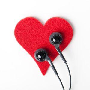 heart with headphones